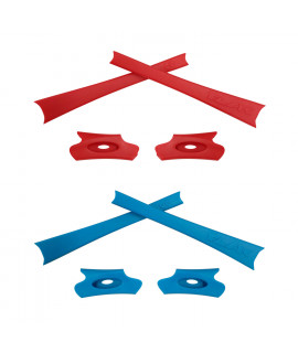 HKUCO Red/Blue Replacement Rubber Kit For Oakley Flak Jacket /Flak Jacket XLJ  Sunglass Earsocks