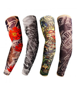 HKUCO Nylon tattoo cuffs Unisex Slip On Sunscreen unique fake Tattoo Arm Sleeves Kit -4 pce