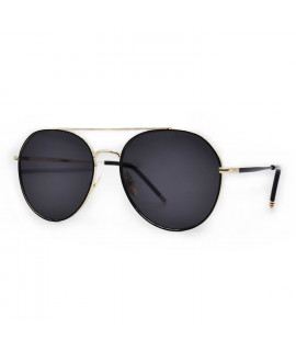 HKUCO Aviator Gold color Metal Frame Retro Fashion Design Black Lenses Sunglasses