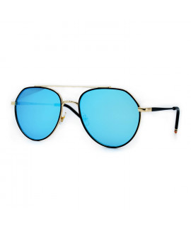 HKUCO Aviator Gold color Metal Frame Retro Fashion Design Blue Mirrored Lenses Sunglasses