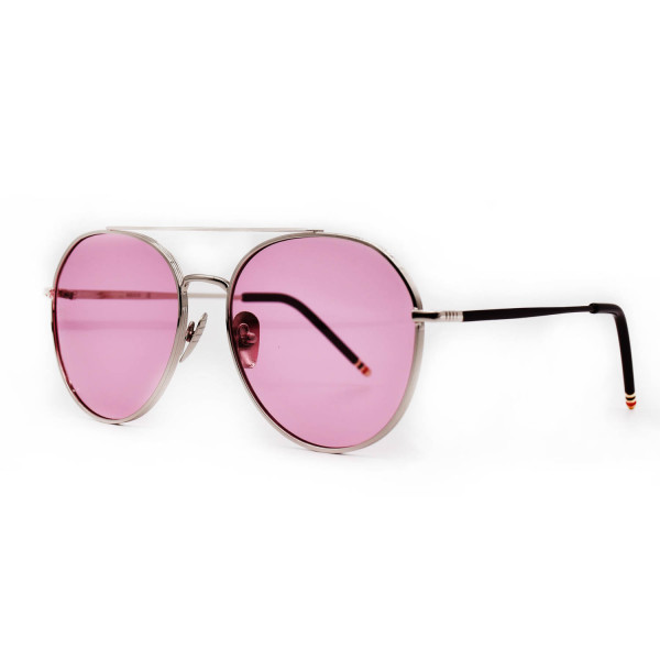 HKUCO Aviator Silver color Metal Frame Retro Fashion Design Transparent Pink Lenses Sunglasses