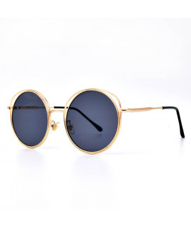 HKUCO Gold color Round Metal Frame Double Circle Design Black Lenses Sunglasses