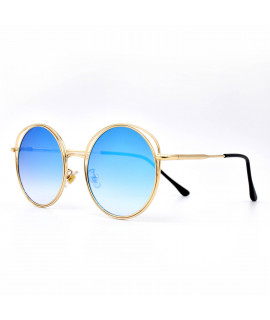 HKUCO Gold color Round Metal Frame Double Circle Design Blue Mirrored Lenses Sunglasses