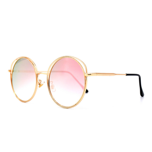 HKUCO Gold color Round Metal Frame Double Circle Design Pink Mirrored Lenses Sunglasses