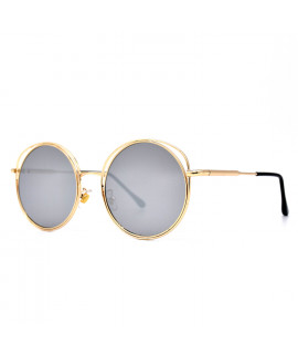 HKUCO Gold color Round Metal Frame Double Circle Design Silver Mirrored Lenses Sunglasses