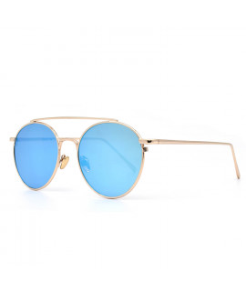 HKUCO Gold color Fashionable Metal Frame popular Design Blue Mirrored Lenses Sunglasses