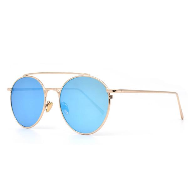 HKUCO Gold color Fashionable Metal Frame popular Design Blue Mirrored Lenses Sunglasses