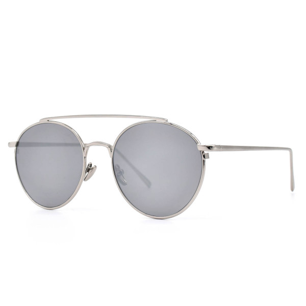 HKUCO Silver color Fashionable Metal Frame popular Design Silver Mirrored Lenses Sunglasses