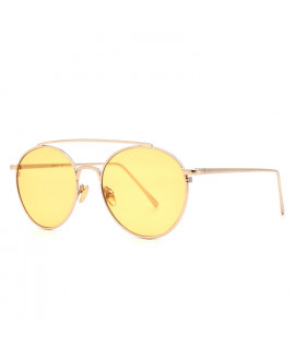 HKUCO Gold color Fashionable Metal Frame popular Design Transparent yellow Lenses Sunglasses