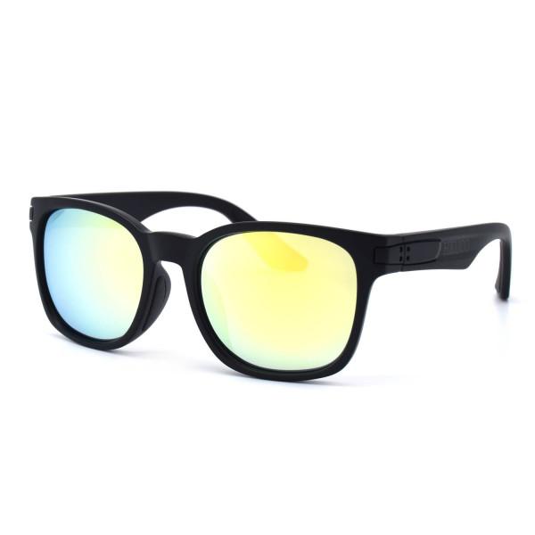 HKUCO Basic Fashion Black plastic Frame Sunglass With Polarized Gold Mirroed Lenses