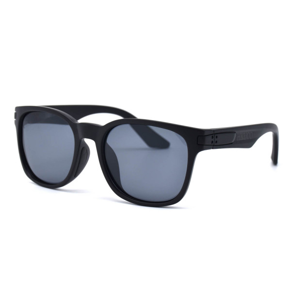 HKUCO Basic Fashion Black plastic Frame Sunglass With Polarized Black Lenses