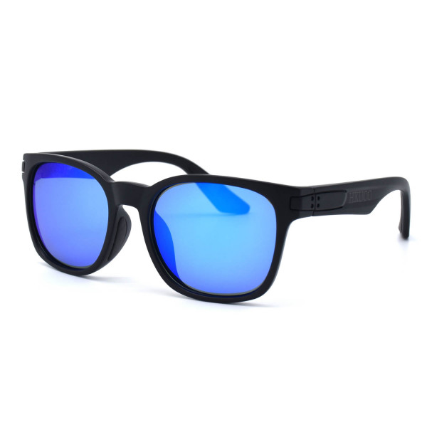 HKUCO Basic Fashion Black plastic Frame Sunglass With Polarized Blue Mirroed Lenses