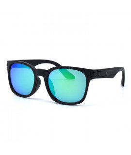 HKUCO Basic Fashion Black plastic Frame Sunglass With Polarized Green Mirroed Lenses
