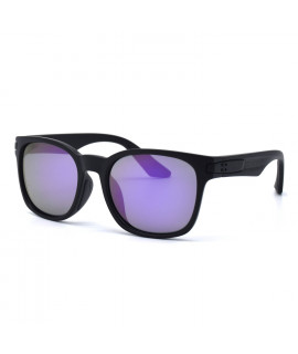 HKUCO Basic Fashion Black plastic Frame Sunglass With Polarized Purple Mirroed Lenses