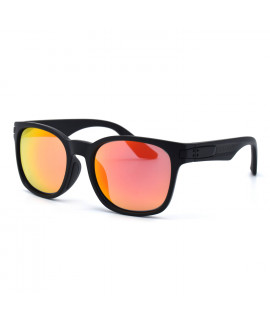 HKUCO Basic Fashion Black plastic Frame Sunglass With Polarized Red Mirroed Lenses