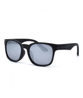 HKUCO Basic Fashion Black plastic Frame Sunglass With Polarized Silver Mirroed Lenses