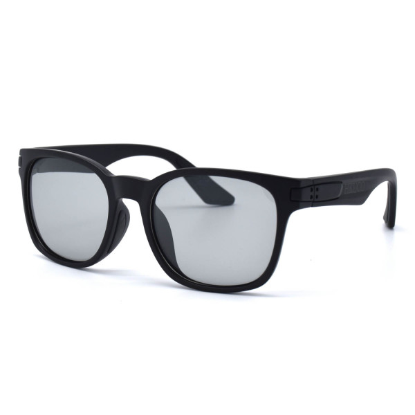 HKUCO Basic Fashion Black plastic Frame Sunglass With Transparent Photochromic Lenses