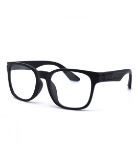 HKUCO Basic Fashion Black plastic Frame Sunglass With Transparent Lenses