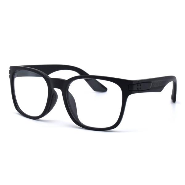 HKUCO Basic Fashion Black plastic Frame Sunglass With Transparent Lenses