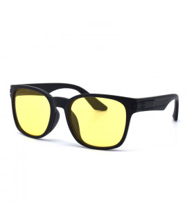 HKUCO Basic Fashion Black plastic Frame Sunglass With Transparent Yellow Lenses