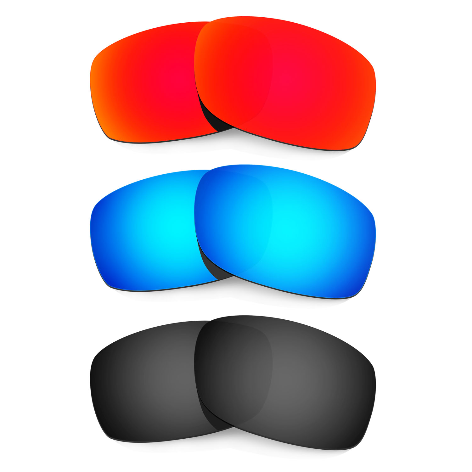 46389eea96 HKUCO Red+Blue+Black Polarized Replacement Lenses for Oakley Fives Squared  Sunglasses