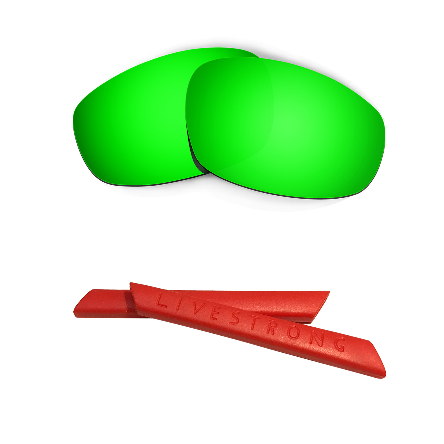 HKUCO Silver/Green Polarized Replacement Lenses and Red Earsocks Rubber Kit For Oakley Juliet Sunglasses Dhd3QMr